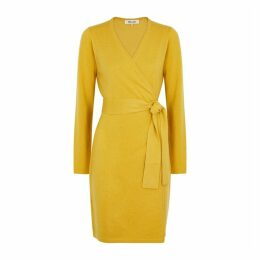 Diane Von Furstenberg New Linda Mustard Wool-blend Wrap Dress