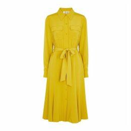 Diane Von Furstenberg Antonette Mustard Silk Shirt Dress