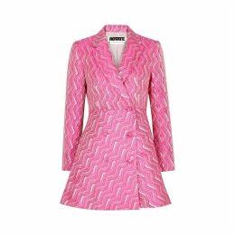 ROTATE Birger Christensen Number 23 Wave-jacquard Blazer Dress