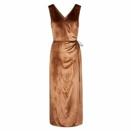 Vince Rose Gold Velvet Wrap Dress