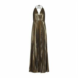 Aidan Mattox Pleated Foiled Chiffon Gown