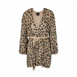 Retrofête Gabrielle Leopard Sequin Wrap Dress