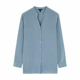 EILEEN FISHER Blue Silk Shirt