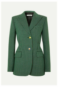 Givenchy - Belted Checked Wool Blazer - Green