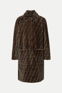 Fendi - Reversible Printed Shearling Coat - Dark brown