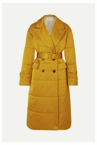 Dries Van Noten - Renata Belted Quilted Satin Coat - Mustard