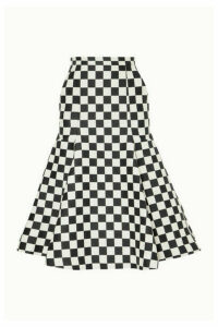 Pushbutton - Fluted Checked Wool-blend Midi Skirt - White