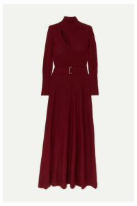 Nicholas - Belted Cutout Wool And Cotton-blend Maxi Dress - Claret