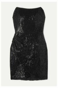 Haney - Olivia Strapless Sequined Jersey Mini Dress - Black