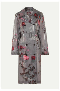 Dries Van Noten - Floral-print Pu Trench Coat - Light gray