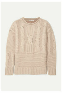 Agnona - Ribbed Cable-knit Cashmere Sweater - Beige