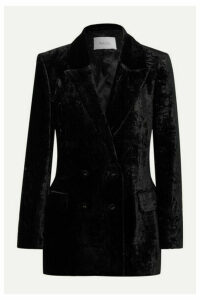 Racil - Double-breasted Crushed-velvet Blazer - Black