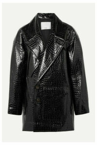 Tibi - Oversized Croc-effect Faux Patent-leather Coat - Black