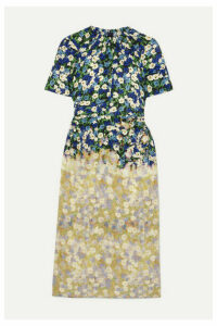 Rokh - Cutout Bleached Floral-print Silk-crepe Dress - Yellow