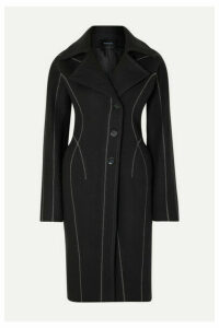 Mugler - Embroidered Wool-felt Coat - Black