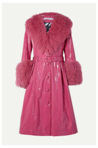 Saks Potts - Foxy Neon Belted Shearling-trimmed Patent-leather Coat - Bright pink