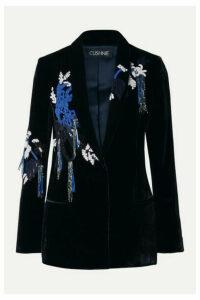 Cushnie - Embellished Velvet Blazer - Midnight blue