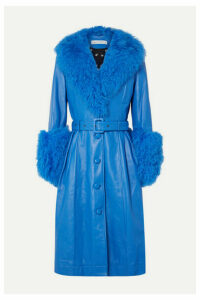 Saks Potts - Foxy Belted Shearling-trimmed Leather Coat - Bright blue