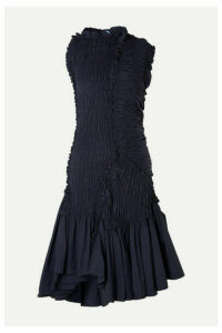 Mugler - Asymmetric Ruffled Smocked Taffeta Dress - Navy