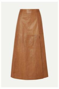 Salvatore Ferragamo - Leather Midi Skirt - Tan