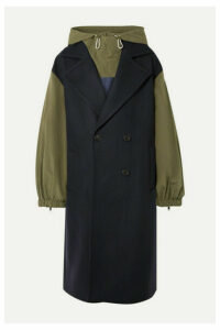 Monse - Hooded Double-breasted Embroidered Wool-blend And Ripstop Coat - Midnight blue