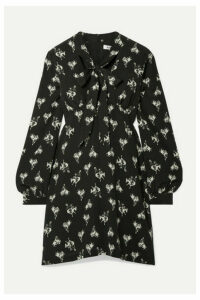 RE/DONE - 60s Pussy-bow Printed Silk-crepe Mini Dress - Black