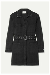 Current/Elliott - Debbie Belted Studded Denim Mini Dress - Black
