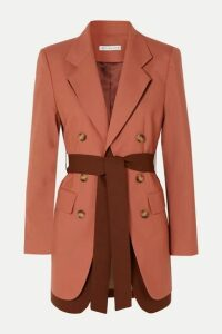 REJINA PYO - Elliot Belted Double-breasted Layered Wool Blazer - Coral