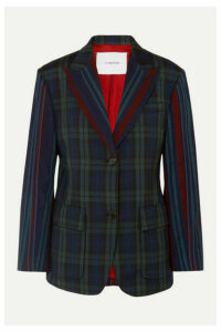 Pushbutton - Paneled Tartan And Striped Wool-blend Blazer - Navy