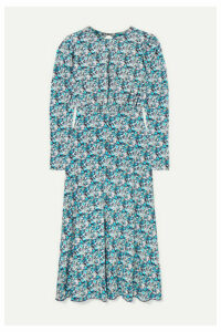 ROTATE Birger Christensen - Open-back Floral-print Stretch-jersey Midi Dress - Blue