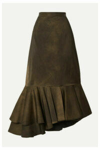 Brock Collection - Asymmetric Pleated Matte-satin Skirt - Dark green