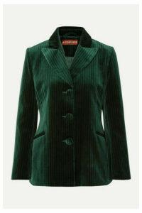 ALEXACHUNG - Metallic Pinstriped Cotton-velvet Blazer - Dark green