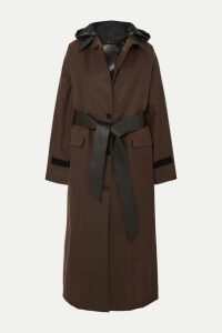 Kassl Editions - Belted Hooded Coated-cotton Coat - Brown