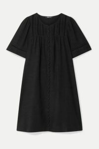 Madewell - Crochet-trimmed Pintucked Voile Mini Dress - Black