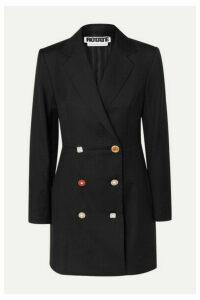 ROTATE Birger Christensen - Double-breasted Embellished Wool-blend Mini Dress - Black