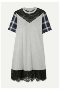 McQ Alexander McQueen - Paneled Cotton-jersey, Checked Flannel And Lace Mini Dress - Gray