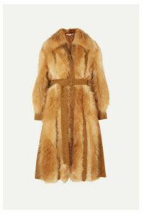 Stella McCartney - Faux Suede-trimmed Faux Fur Coat - Light brown