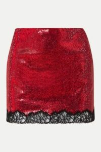 Philosophy di Lorenzo Serafini - Lace-trimmed Crystal-embellished Georgette Mini Skirt - Red