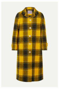 ALEXACHUNG - Oversized Checked Wool Coat - Yellow