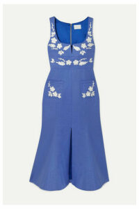 alice McCALL - Pastime Paradise Embroidered Cotton Midi Dress - Blue