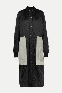 Rick Owens - Suede And Wool-trimmed Quilted Shell Coat - Black