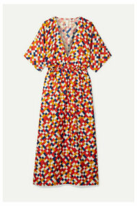 Eres - Mosaic Spritz Printed Silk-twill Midi Dress - Brick