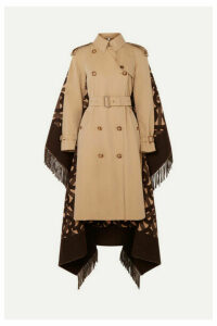 Burberry - Fringed Merino Wool And Cashmere-blend Jacquard And Cotton-gabardine Trench Coat - Beige