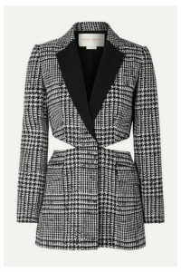 Carolina Herrera - Cutout Crepe-trimmed Prince Of Wales Checked Wool And Silk-blend Blazer - Black