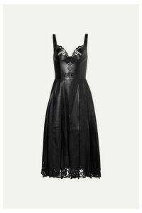 Alexander McQueen - Pleated Laser-cut Leather Midi Dress - Black