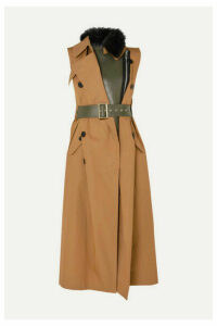 Sacai - Faux Fur-trimmed Layered Gabardine And Leather Vest - Beige