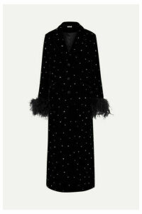 Miu Miu - Feather And Silk Satin-trimmed Crystal-embellished Velvet Coat - Black