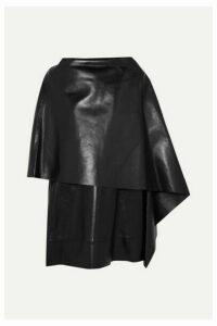 Valentino - Cape-effect Leather Mini Dress - Black