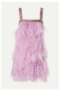 Naeem Khan - Beaded Feather-embellished Tulle Mini Dress - Baby pink