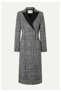 Carolina Herrera - Double-breasted Crepe-trimmed Prince Of Wales Checked Wool And Silk-blend Coat - Black